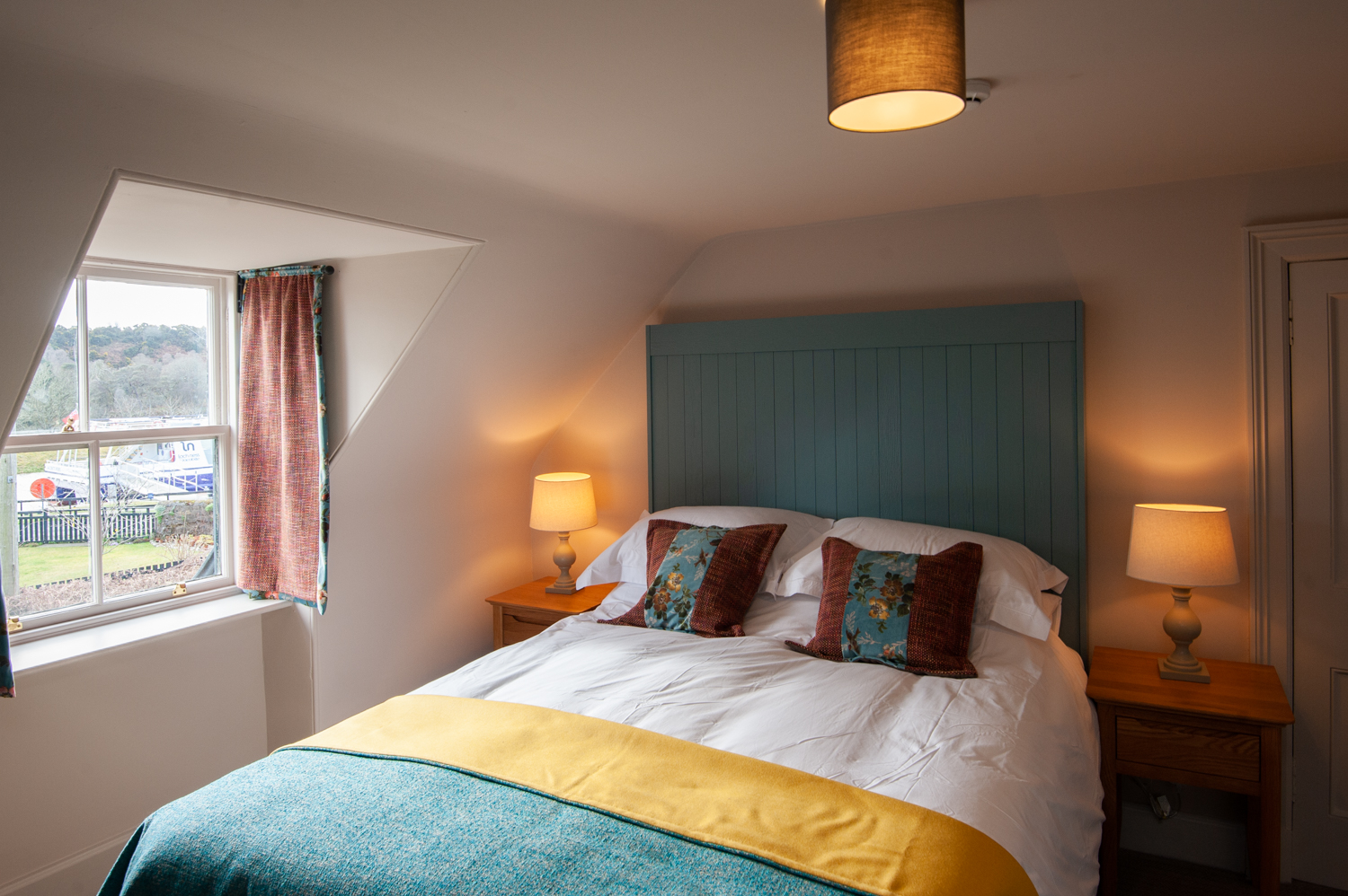 One of the bedrooms - looking out over the Caledonian Canal